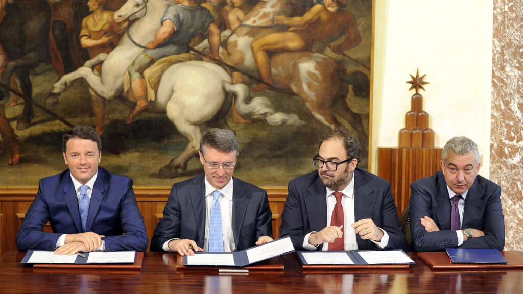 """Renzi firma il protocollo per Bagnoli: """"Finito il tempo delle chiacchiere, sarà ripulita""""."""